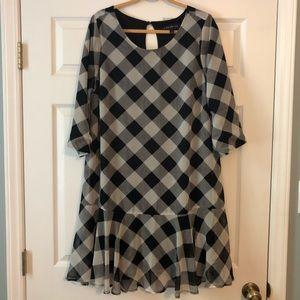 Lane Bryant Black & White Buffalo Plaid Dress